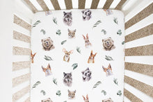 Load image into Gallery viewer, Woodland Animals Crib Sheet, Forest Nursery Bedding - Wild Woodland