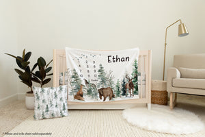 Woodland Animals Milestone Blanket, Forest Baby Monthly Growth Tracker - Enchanted Forest