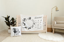 Load image into Gallery viewer, Black and White Safari Personalized Milestone Blanket, Safari Nursery Bedding - Black Africa