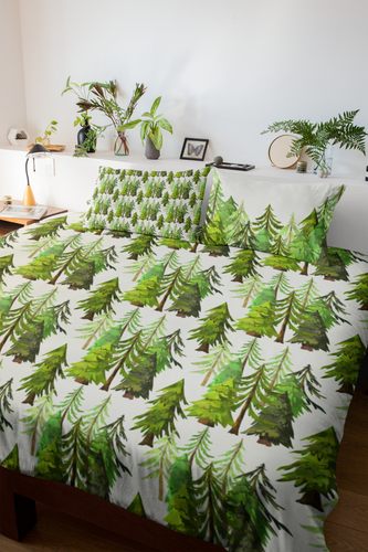 Into The Woods Coniferous Trees Comforter, Forest Bedding