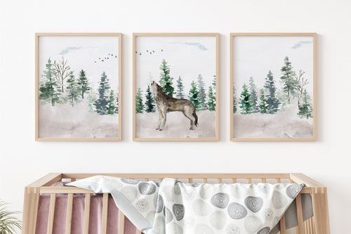 Wolf Wall Art, Woodland Nursery Prints, Set of 3 DIGITAL DOWNLOAD - Enchanted Forest