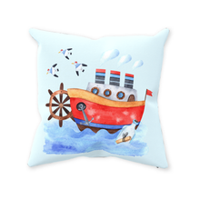 Load image into Gallery viewer, Blue Whale Boat Throw Pillow, Nautical Nursery Bedding