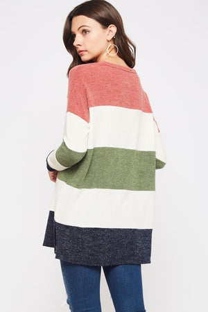 Plus Size Color Block Sweater