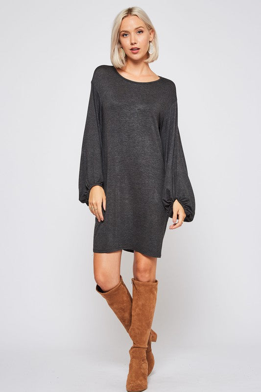 Black Solid Rayon Spandex shift Dress featuring Bishop Sleeves