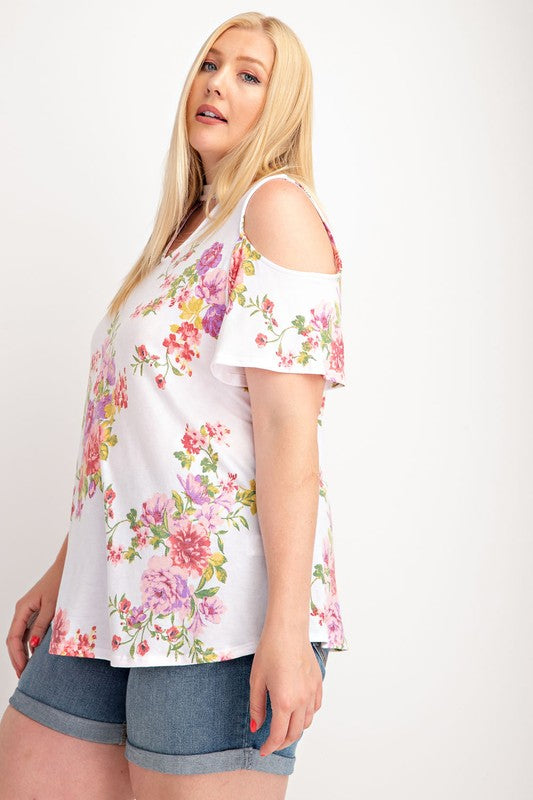 Plus Size V Neck Floral Print Short Sleeve Top, Shoulder Cut Off, Open Back