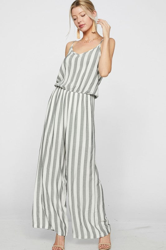 Striped Woven Sleeveless Jumpsuit with lined shorts