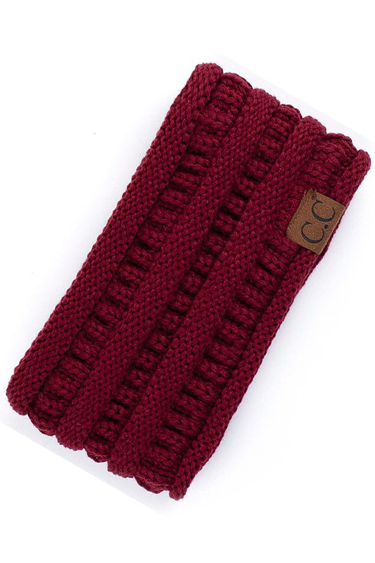 Burgundy colored CC Ribbed Headwrap