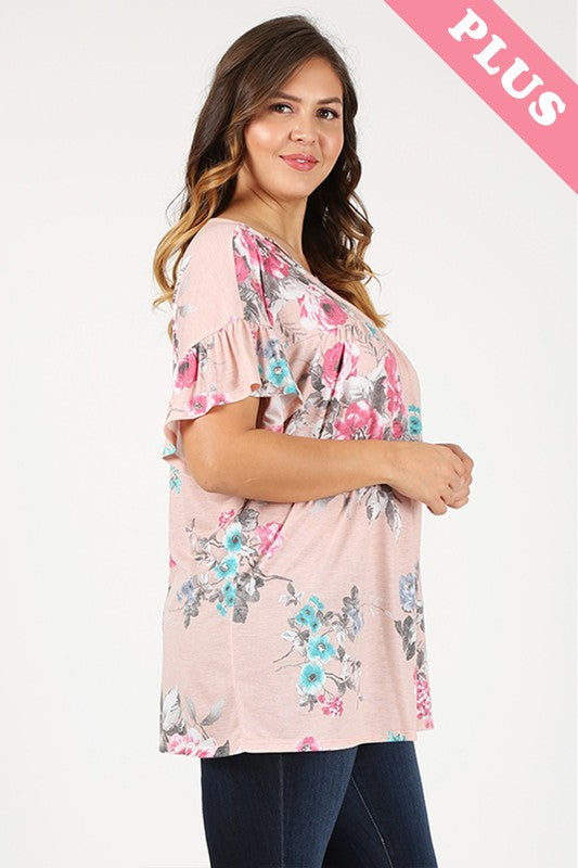 Plus Size Floral Top with front Criss Cross Design