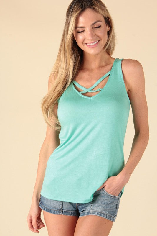 Criss Cross Tanks in Mint and Dusty Pink