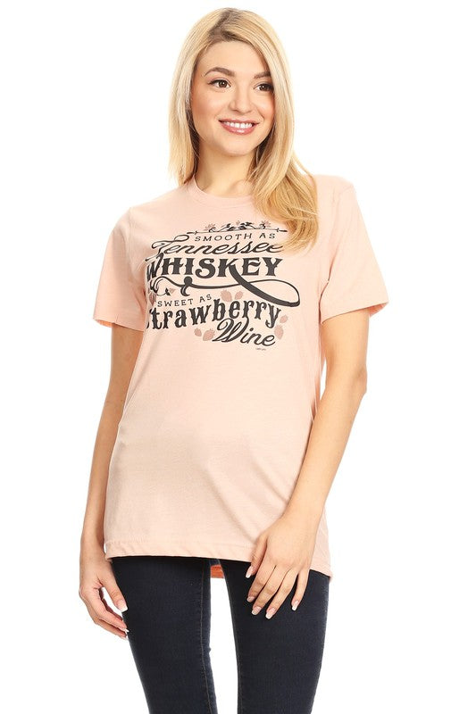 Smooth as Tennesse Wiskey    Heather Peach colored t-shirt