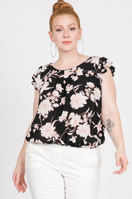 Plus Size Black Floral Print Bottom Elastic Top