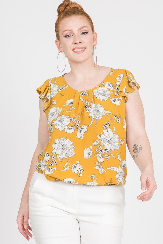 Plus Size Mustard Color Floral Print Bottom Elastic Top