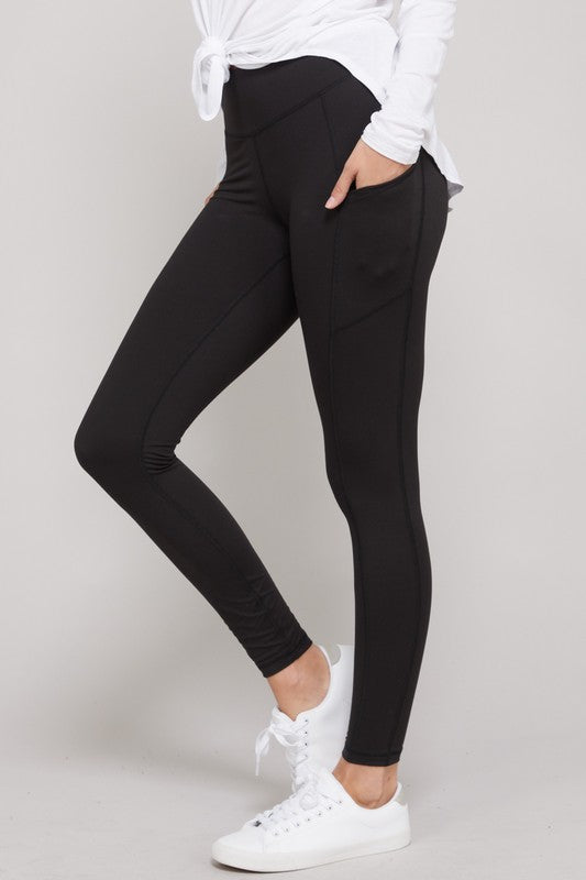 Butter Soft Wide wasteband Yoga Leggings with side pocket in Black, Burgundy & Charcoal