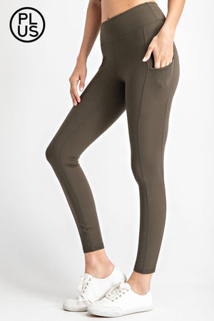 Plus Size Butter Soft Wide wasteband Yoga Leggings with side pocket in Black, Burgundy, Olive & Vintage Demin
