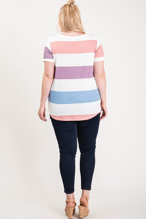 Plus Size Striped Top with Knot in front