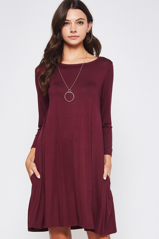 Solid Rayon Spandex A Line Tunic Dress with hidden pockets