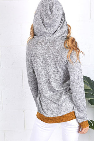 2 Tone Lightweight Half Zip Pull Over with Hood