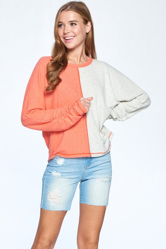 Orange/Gray Very Soft Brushed Cashmere color block top