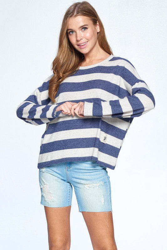 Navy/White Stripe Super Soft and Stretchy brushed Cashmere Loose fit top