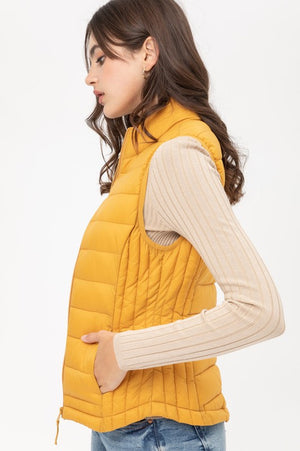 Mustard  Lightly Padded Thermal Vest   Slim Fit