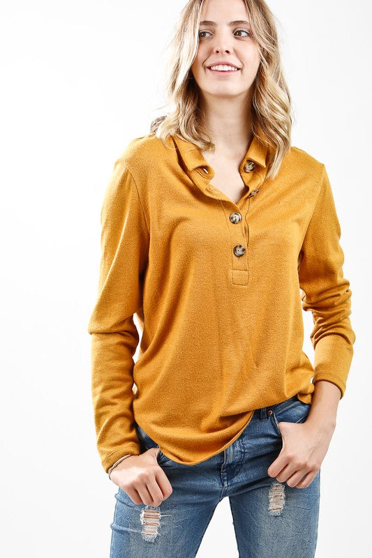 Soft Brush Hacci Button Down Long Sleeve Top