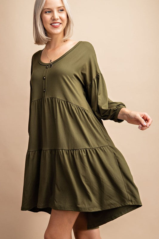 Olive Colored Balloon Sleeve Tiered Dress with Decorative Buttons