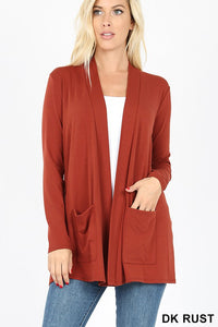 Dark Rust Colored Slouchy Pocket Cardigan