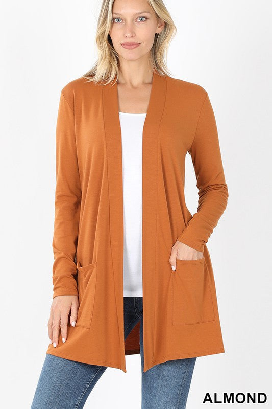 Almond Colored Slouchy Pocket Cardigan