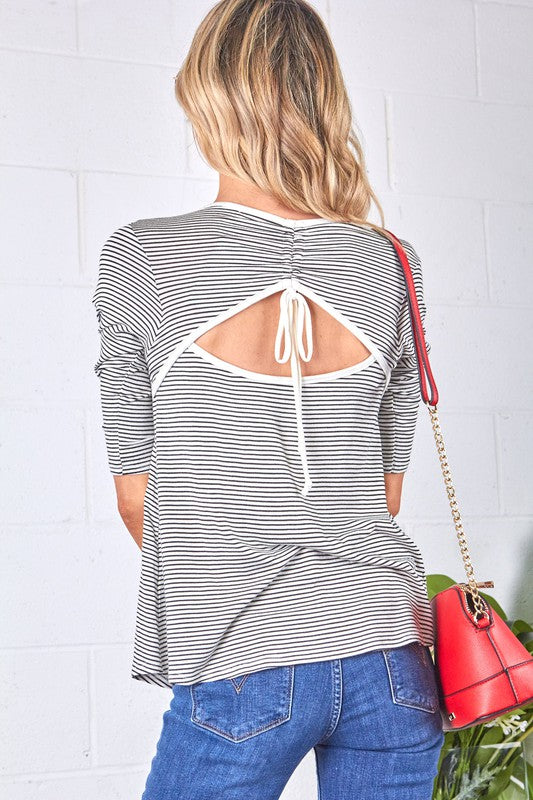 Gray Striped Tunnel Back Top