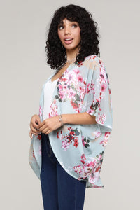 One Size Mint Floral sheer open front printed kimono