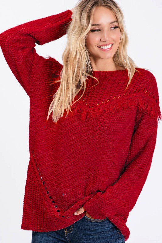 Burgundy Sweater with Fringed Yoke and Perforated V Shaped Detail