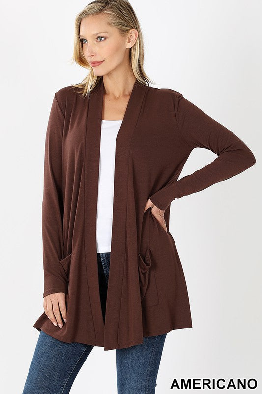 Americano Colored Slouchy Pocket Open Cardigan