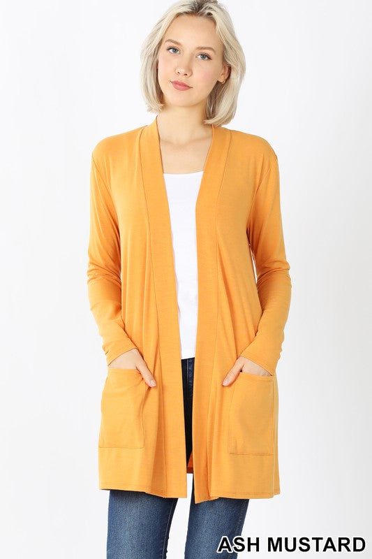 Mustard Colored Slouchy Pocket Open Cardigan