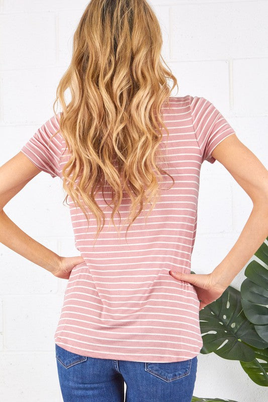 Plus Size Stripe Overlap Short Sleeve Top