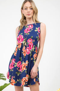 Plus Size Navy Floral Fit & Flare Dress with side pockets