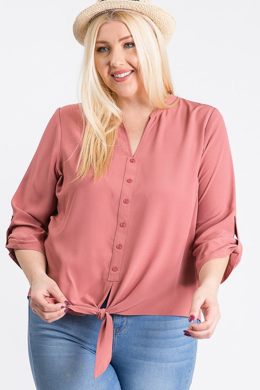 Plus Size 3/4 Sleeve tie front top