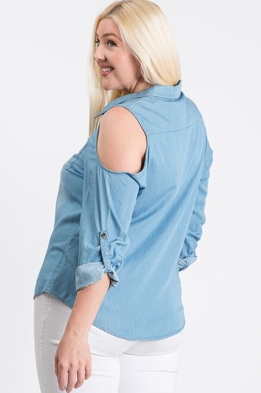 Plus Size Denim Cold Shoulder Long Sleeve top