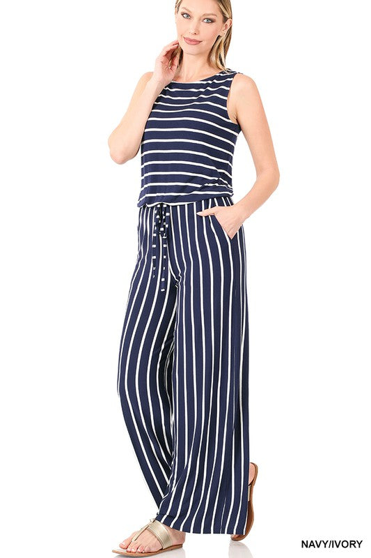 Navy/Ivory Striped Sleeveless Jumpsuit with pockets