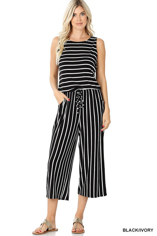 Black/Ivory Capri Length Jumpsuit