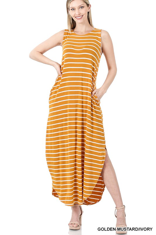 Mustard Colored Striped Sleeveless Side Slit Maxi Dress