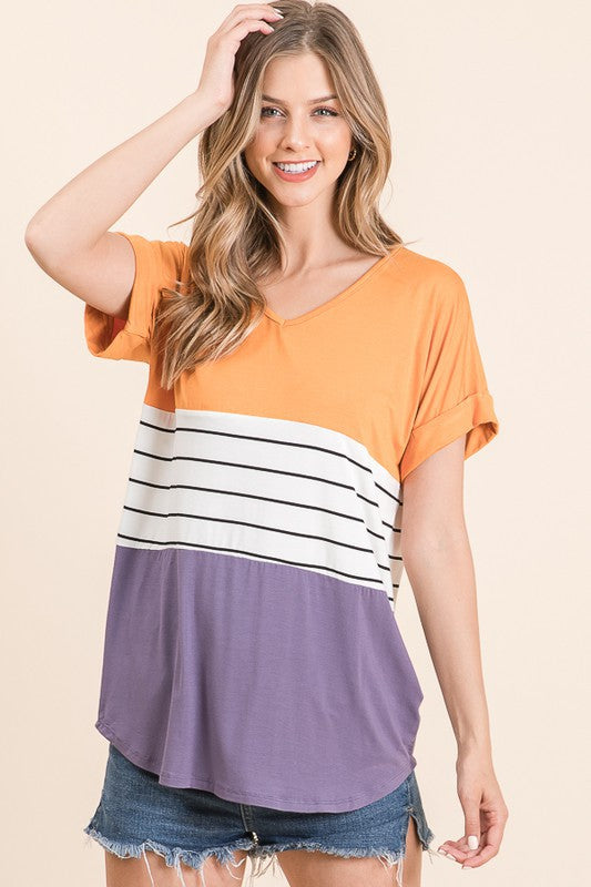 Orange - Stripe - Purple color block Tunic Top