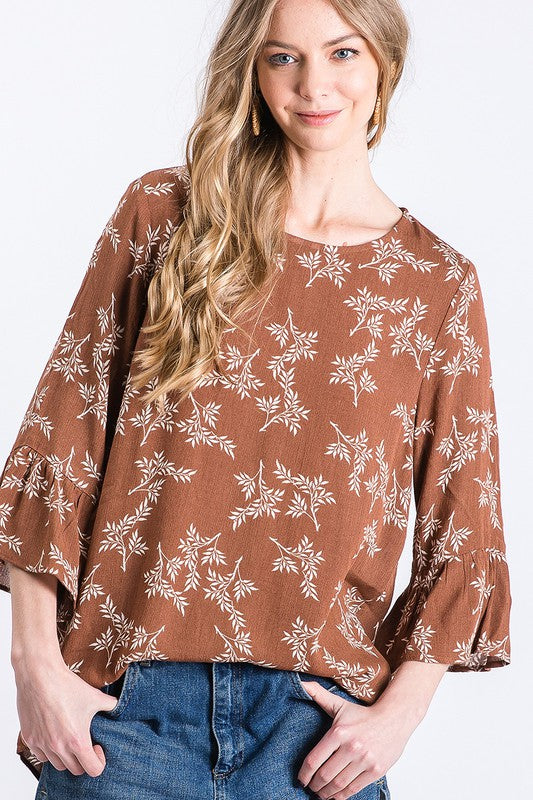 Herb Pattern Print with 3/4 Bell Sleeve Top
