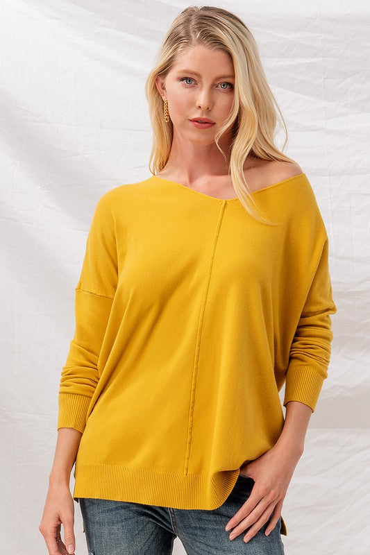 Mustard Soft High Low tunic sweater     Lightweight