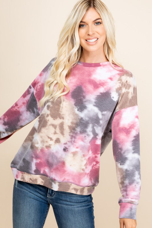 Plus Size Tie Dye Long Sleeve Round Neck Lightweight Sweatshirt