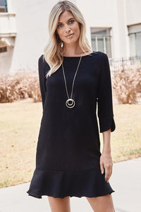 Solid Woven Poly Spandex Dress featuring ruffle sleeve and ruffle hem