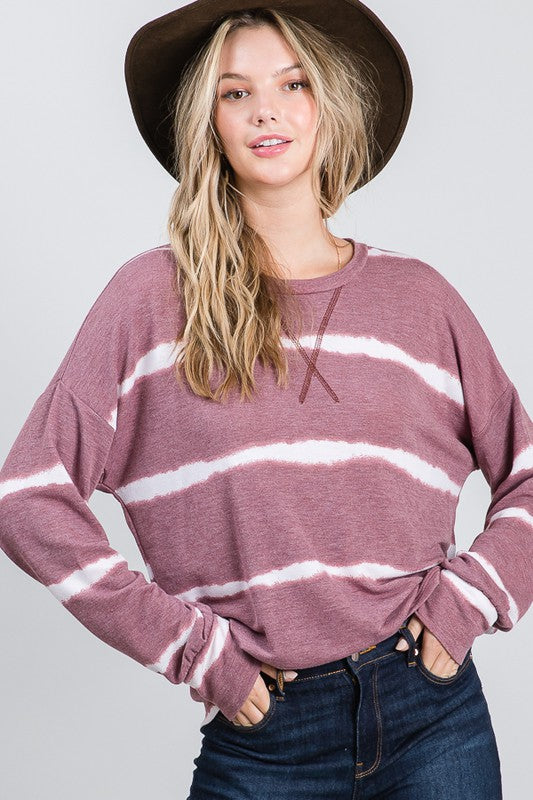Marsala Vintage Tie Dye Bishop Sleeve Top