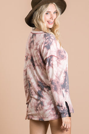 Marsala Tie Dye Long Sleeve Top