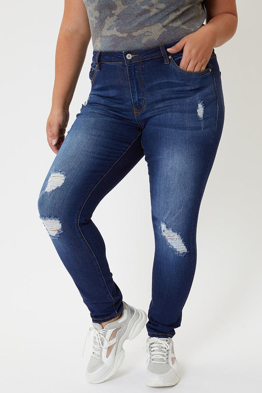 Plus Size Mid Rise Skinny   Some Distress