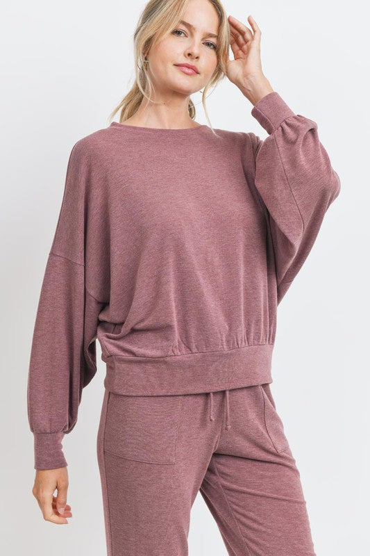 Balloon Sleeve French Terry Knit Top    Loose Fit     Matching Joggers Available