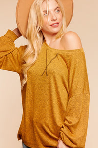 Plus Size Mustard Colored Long Sleeve Pullover